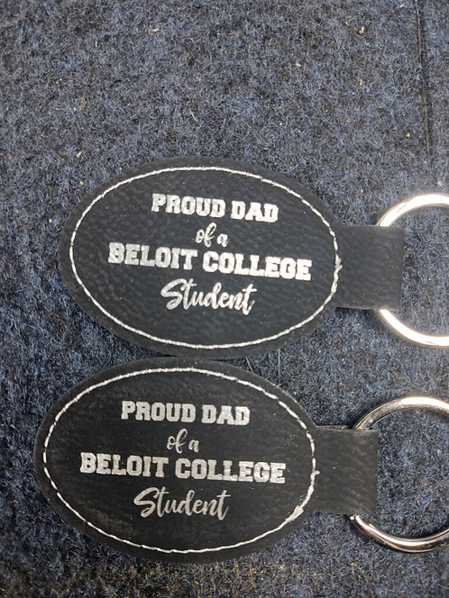 """College Store 3"""" x 1 3/4"""" Black/Silver Laserable Leatherette Oval Keychain"""