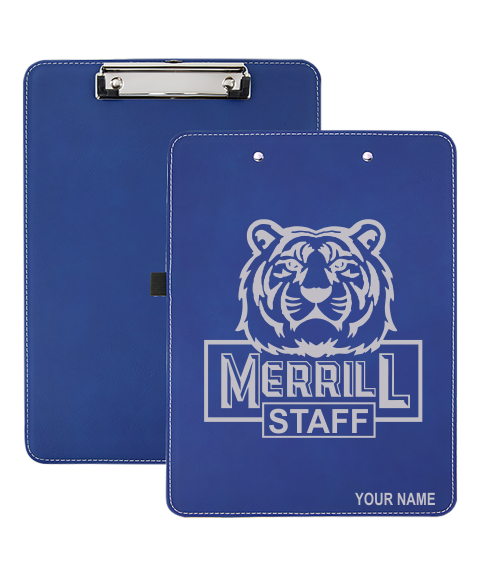 "Merrill Staff 9"" x 12 1/2"" Blue Leatherette Clipboard"