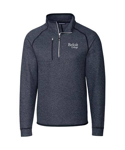 Beloit College Navy Cutter & Buck Mainsail Sweater-Knit Mens Half Zip Pullover