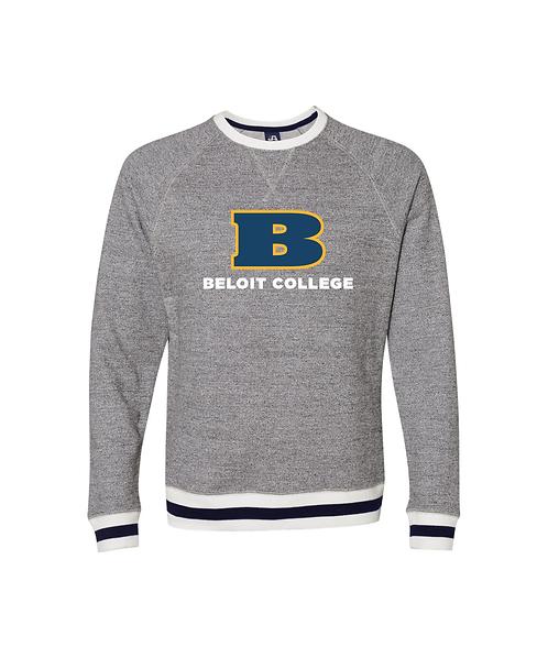 Beloit College Pepper/Navy J. America Peppered Fleece Crewneck Sweatshirt