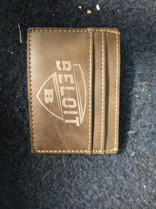 """College Store 4"""" x 2 3/4"""" Rustic/Gold Laserable Leatherette Wallet Clip"""