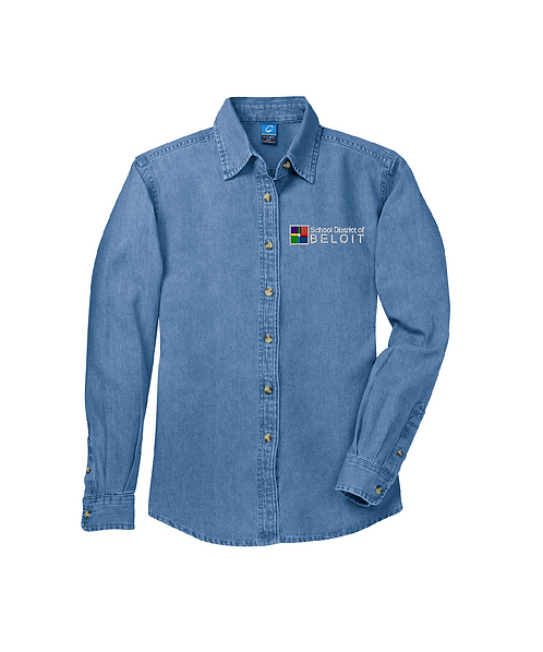 School District of Beloit Embroidered Ladies Long Sleeve Denim Shirt