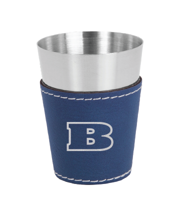Beloit College 2 oz. Blue/Silver Stainless Steel Leatherette Shot Glass