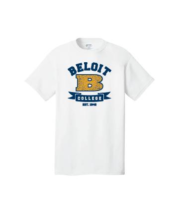 Beloit College White Port & Company® Core Cotton Tee w/ B/Ribbon