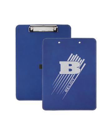 """Beloit College 9"""" x 12 1/2"""" Blue/Silver Leatherette Clipboard"""