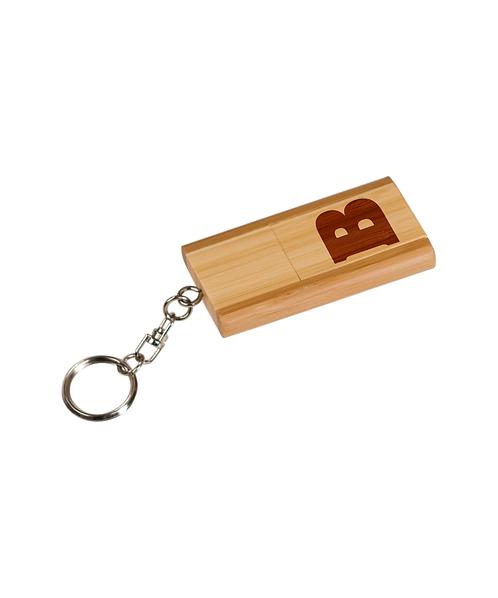 """Beloit College 1 3/8"""" x 2 3/8"""" 8GB Bamboo USB Flash Drive w/ Keychain"""