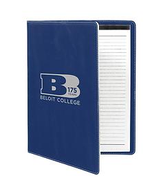 """175th Anniversary 9 1/2""""x12"""" Blue/Silver Laserable Leatherette Portfolio"""