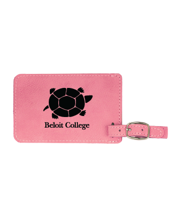 """Beloit College 4 1/4"""" x 2 3/4"""" Pink Leatherette Luggage Tag"""