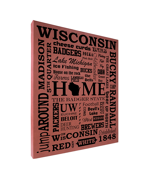 """Wisconsin Sayings"" 16""x20"" Rose Leatherette Wall Decor"