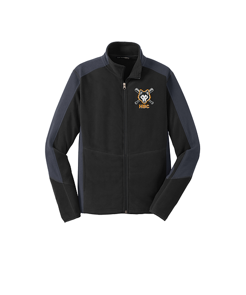 Harlem Huskies Embroidered Black/Grey Microfleece Colorblock Jacket