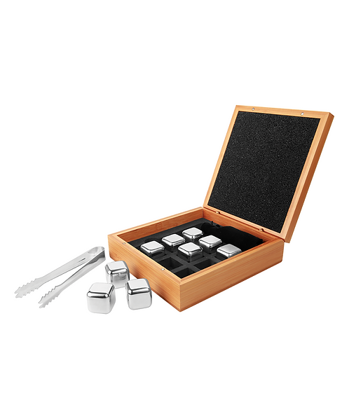 """6 1/4"""" x 6 3/4"""" Stainless Steel Whiskey Stone Set in Bamboo Case"""