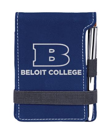 "Beloit College 3 1/4""x4 3/4"" Blue/Silver Leatherette Mini Notepad"