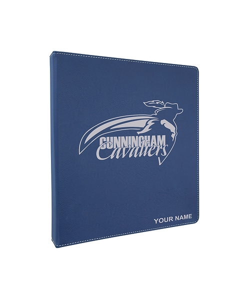 "Cunningham Cavaliers 10 1/2""x 11 1/2"" Blue Leatherette 3-Ring Binder (1"" Rings)"
