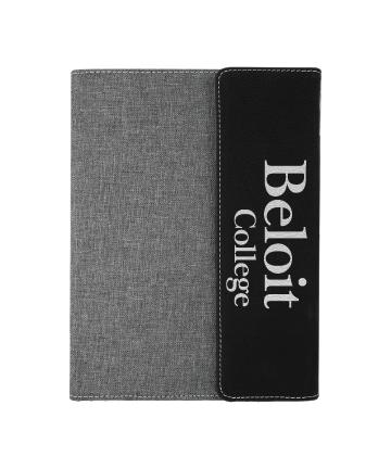 "Beloit College 7""x9"" Black/Silver Leatherette w/Gray Canvas Portfolio"