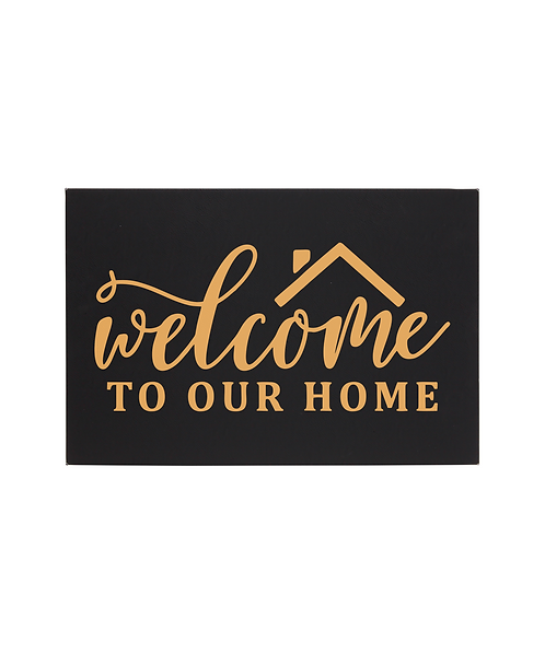 """Welcome to Our Home"" 12""x18"" Black/Gold Leatherette Wall Decor"