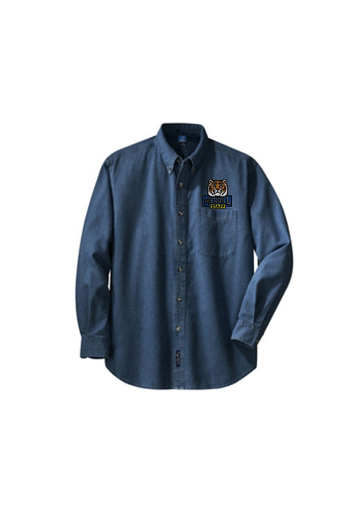 Embroidered Merrill Staff Ink Blue Long Sleeve Value Denim Shirt