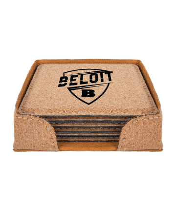 "Beloit College 4"" x 4"" Square Cork 6-Coaster Set"