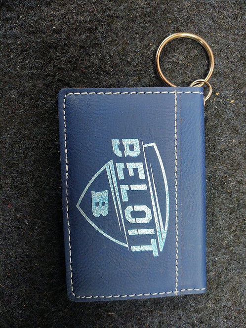 """College Store 4 1/4"""" x 3"""" Blue/Silver Leatherette Keychain ID Holder"""