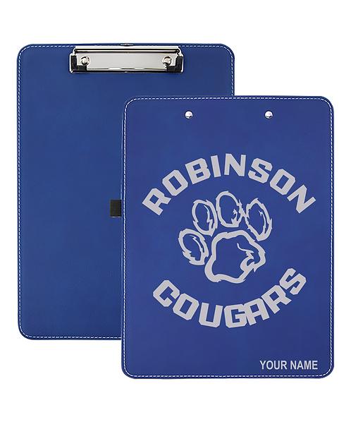 "Robinson Elementary 9"" x 12 1/2"" Blue Leatherette Clipboard"