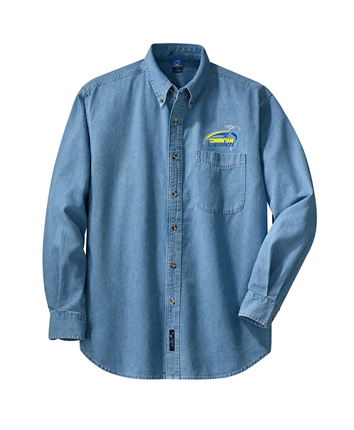 Cunningham Cavaliers Embroidered Faded Blue Long Sleeve Value Denim Shirt