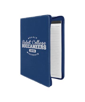 "Beloit College 9 1/2"" x 12""  Blue/Silver w/ Zipper Leatherette Portfolio"