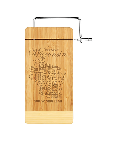 """""""When you say WI..."""" 12""""x6"""" Bamboo Cutting Board w/ Metal Cheese Slicer"""