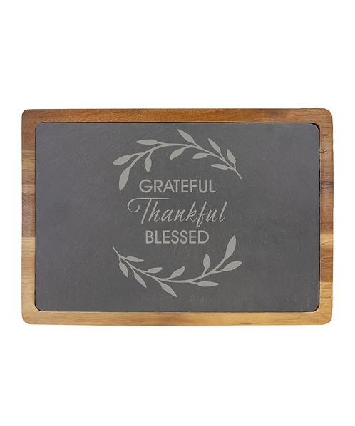 """Grateful, Thankful, Blessed"" 13""x9"" Acacia Wood/Slate Cutting Board"