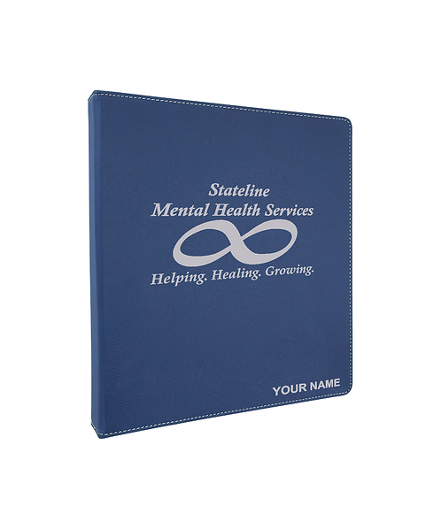 "Stateline Mental Health 10 1/2""x11 1/2"" Blue Leatherette 3-Ring Binder(1"" Rings)"