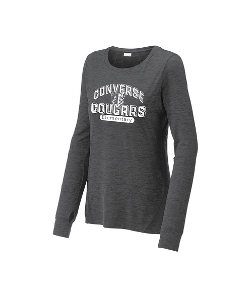 Converse Cougars Ladies Graphite Heather Long Sleeve Crew Arched Graphic