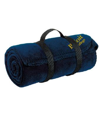Beloit College Embroidered Navy Port Authority Value Fleece Blanket w/ Strap