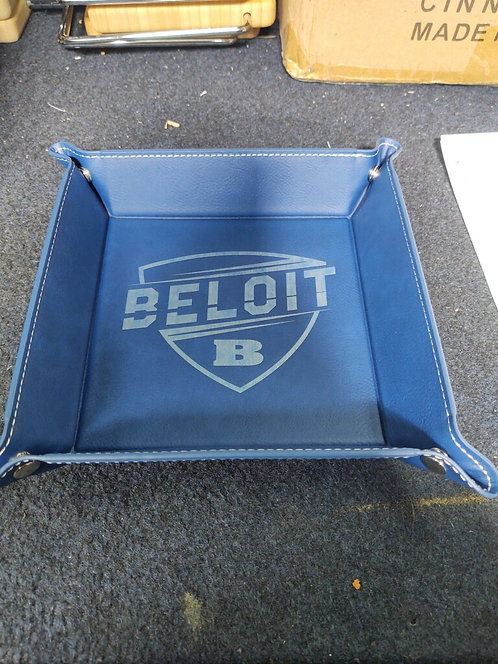 """College Store 6"""" x 6"""" Blue/Silver Leatherette Snap Up Tray"""