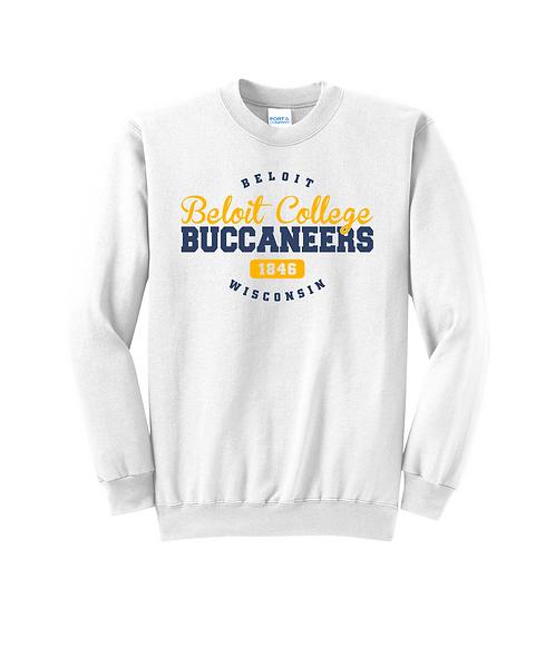 Beloit College White Buccaneers 1846 Fleece Crewneck Sweatshirt