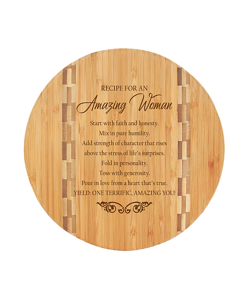 """9 3/4"""" Round Bamboo Cutting Board with Butcher Block Inlay"""