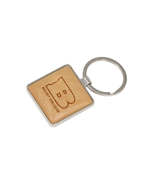 "Beloit College 1 9/16""x1 9/16"" Silver/Wood Square Keychain"
