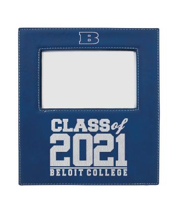 "Beloit College 4"" x 6"" Blue/Silver Leatherette Photo Frame"