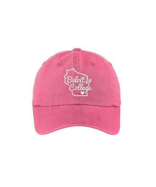 Beloit College Puff Embroidered Bright Pink - Ladies Garment Washed Cap