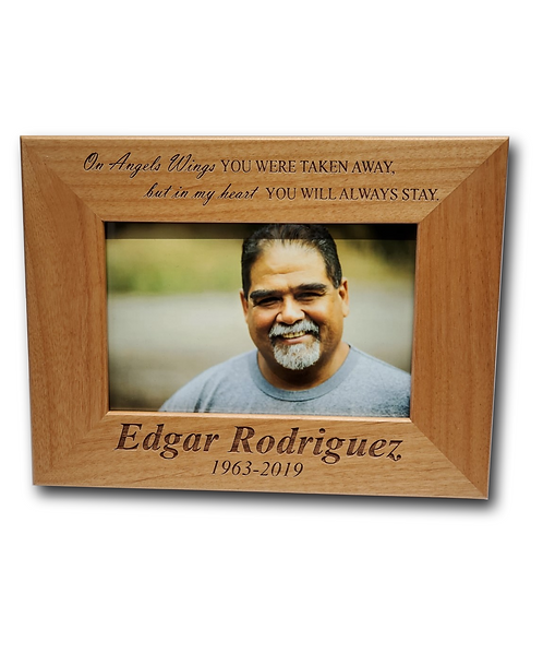 """""""On Angel Wings..."""" 4""""x6"""" Genuine Red Alder Picture Frame"""