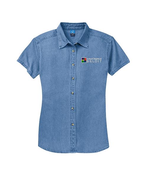School District of Beloit Embroidered Ladies Short Sleeve Denim Shirt