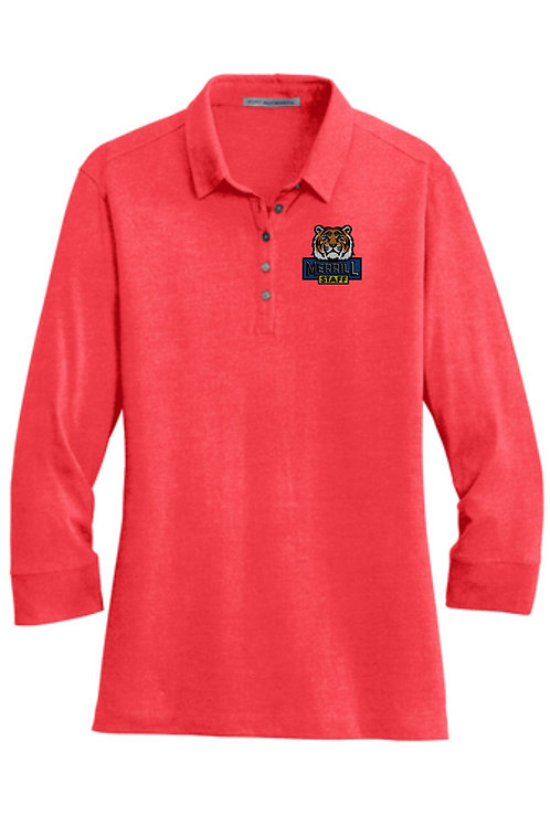 Embroidered Merrill Staff Ladies 3/4-Sleeve Meridian Cotton Blend Polo