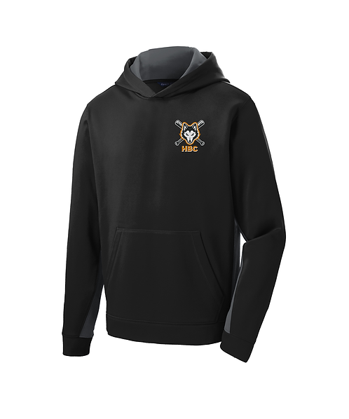 Harlem Huskies Embroidered Youth Black/Grey Hooded Pullover