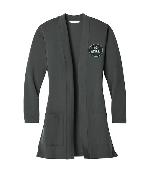 S.A.R.P Embroidered Ladies Grey Smoke Concept Long Pocket Cardigan