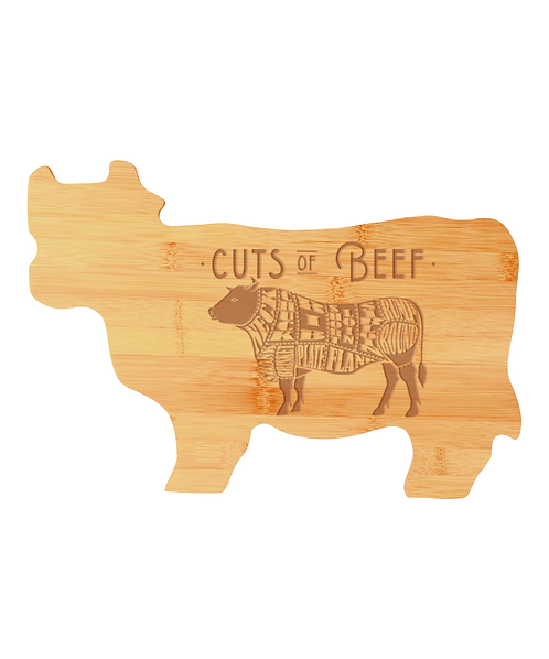 """Cuts of Beef"" 14 3/4"" x 9 3/4"" Bamboo Cow Shaped Cutting Board"
