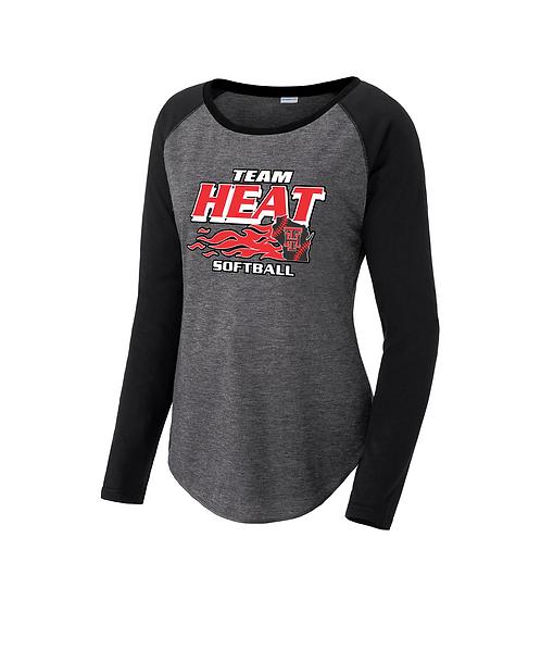 Team Heat Softball Ladies Long Sleeve Scoop Neck Raglan Tee