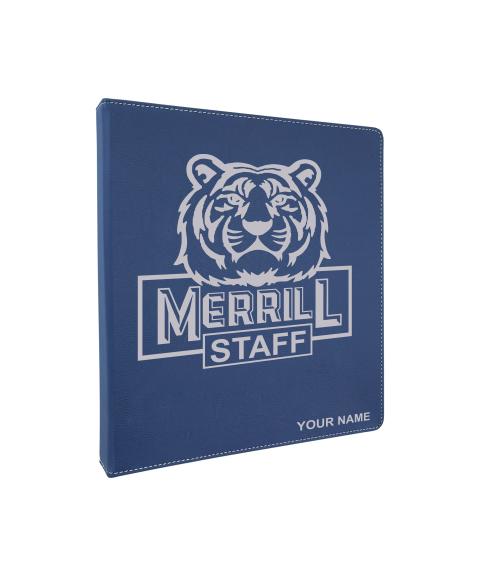 "Merrill Staff 10 1/2""x 11 1/2"" Blue Leatherette 3-Ring Binder (1"" Rings)"