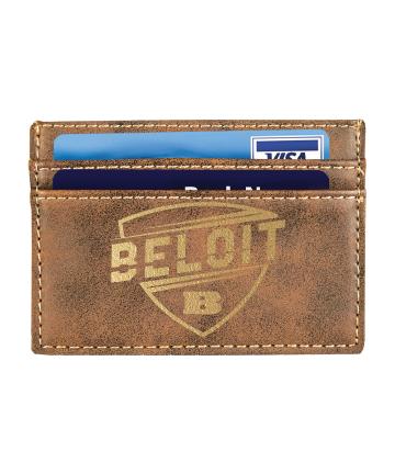 "Beloit College 4""x2 3/4"" Rustic/Gold Leatherette Wallet Clip"