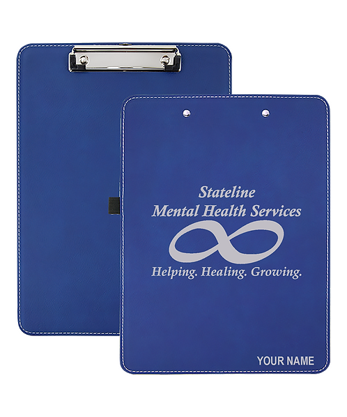 "Stateline Mental Health 9""x12 1/2"" Blue/Silver Laserable Leatherette Clipboard"