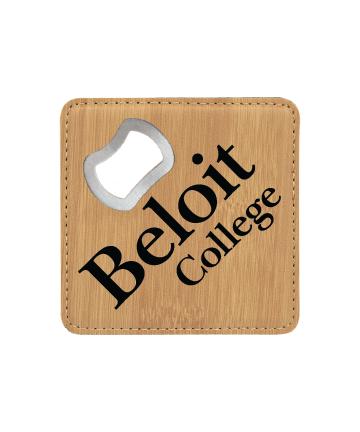 Beloit College Bamboo Laser Black Square Coaster w/ Bottle Opener