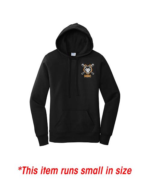 Harlem Huskies Embroidered Black Ladies Core Fleece Pullover Hooded Sweatshirt