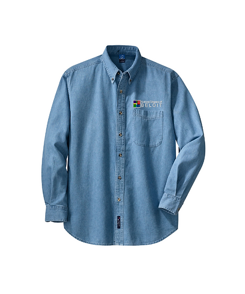 School District of Beloit Embroidered Long Sleeve Value Denim Shirt