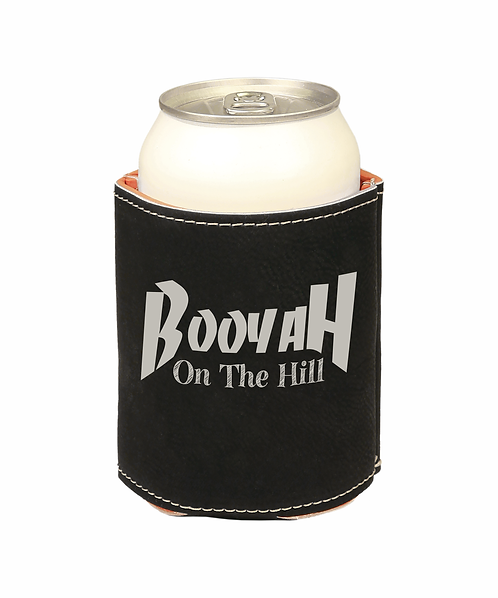 Booyah on the Hill Leather Can Koozie